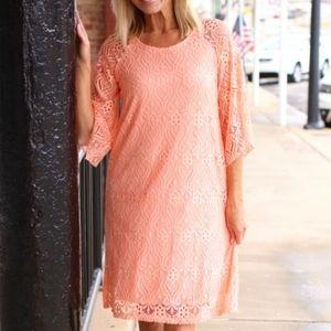 NWT! Jessica Howard Pink Lace Midi Dress